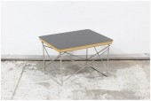 Table, Side, BLACK LAMINATE LAYERED PLYWOOD TOP, WIRE ROD CRISSCROSSED LEGS, WOOD, BLACK
