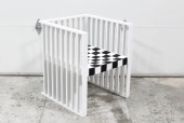 Chair, Armchair, RECTANGULAR GEOMETRIC SHAPE, SLAT SIDES & BACK, WOVEN BLACK & WHITE CHECKERBOARD STYLE FABRIC SEAT, KOLOMAN MOSER STYLE REPRODUCTION , WOOD, WHITE