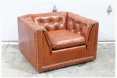 Chair, Armchair, CLUB STYLE, VINTAGE, SQUARED/BOX FRAME, BUTTON TUFTED BACK & ARMS, TACK TRIM, SLIGHTLY DISTRESSED/AGED, LEATHER, BROWN