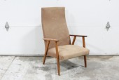Chair, Armchair, MID-CENTURY MODERN,WOOD ARMS, BROWN CANVAS SEAT W/HIGH BACK, SLIGHTLY AGED/WORN, FABRIC, BROWN