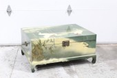 Trunk, Chest, ASIAN,CHEST OR COFFEE TABLE, HINGED LID W/BRASS HARDWARE, GREEN INTERIOR, PAINTED, BIRD & BAMBOO MOTIF, WOOD, GREEN