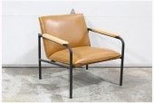 Chair, Armchair, BROWN LEATHER SEAT & BACK, LIGHT BROWN WOOD ARMS, METAL FRAME W/BLACK FINISH, LEATHER, BROWN