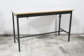 Table, Work, LAB/WORK DESK, BLACK STEEL LEGS/FRAME, RECTANGULAR SPECKLED GREY MDF TOP W/BULLNOSE EDGE, METAL, BLACK