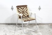 Chair, Folding, VINTAGE OUTDOOR/LAWN, CREAM/BROWN WOVEN SEAT & BACK, PLASTIC ARMS, TUBULAR FRAME, VINYL, BROWN