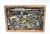 Decorative, Dressed Box, RECTANGULAR DRAWER DRESSED W/HARDWARE, TOOLS & BITS, ITEMS GLUED IN, WOOD, MULTI-COLORED