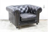 Chair, Armchair, CLUB STYLE ROLLED BACK & ARMS, BUTTON TUFTED, BRASS TACK TRIM, SLIGHTLY DISTRESSED, LEATHER, BLACK