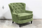 Chair, Armchair, ROUNDED BACK, LOW ARMS, TACK TRIM, BUTTON TUFTED BACK, PLAIN SEAT CUSHION, WOOD LEGS, VELVET, GREEN