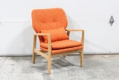 Chair, Side, MODERN ACCENT,LIGHT WOOD FRAME, BUTTON TUFTED SEAT BACK, BURNT ORANGE TWEED FABRIC W/1 PILLOW, FABRIC, ORANGE