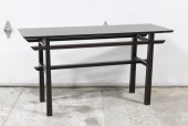 Table, Console, SOFA/HALL TABLE, MINIMAL ALTAR STYLE W/LOWER BARS, STRAIGHT LINES , WOOD, BROWN