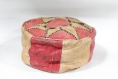 Stool, Ottoman, HASSOCK, POUFFE, RED & BROWN TOP, AGED - Condition May Not Be Identical To Photo, LEATHER, RED