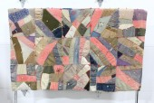 Bedding, Quilt, FRAGILE VINTAGE HANDMADE CRAZY QUILT, PATCHWORK, FLORAL PATTERN ON GREY ON FLIPSIDE, FABRIC, MULTI-COLORED