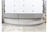 "Counter, Misc, LOBBY/RECEPTION DESK, 2 LEVELS (COUNTER HEIGHT IS 30"", SHELF IS 41""), HORIZONTAL SLATS, CURVED - OUTER WIDTH IS 74.5"", INNER WIDTH IS 55"" - End Section Of 3 Pc Larger Unit, See Photos For Complete Setup, WOOD, GREY"